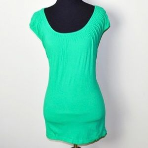 Loft gorgeous teal green tee with gathered top szL